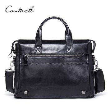 CONTACT'S Genuine Leather Men Bag Male Casual Laptop Briefcases Tote Shoulder Crossbody Bags Messenger Mens Business Office Bag