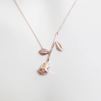 Rose gold, Flower, Necklace, Modern, Flower, Jewelry, Lovers, Best friends, Mom, Sister, Gift, Accessories, Jewelry