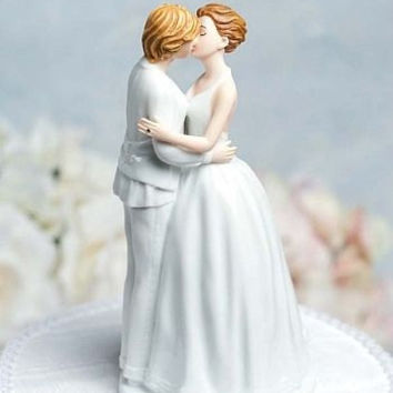 Romance Gay Lesbian  Cake Topper  - Custom Painted Hair Color