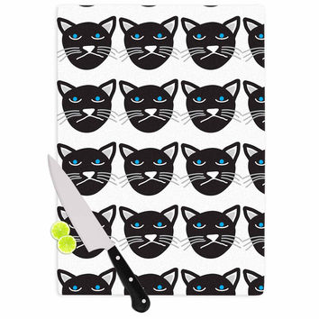 "Vasare Nar ""Grumpy Cat"" Black Animals Cutting Board"