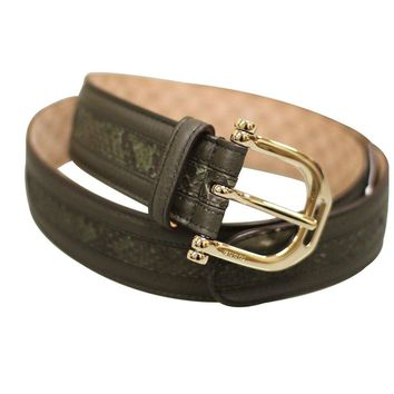 Gucci Women's Green Python Leather Metal Buckle Belt