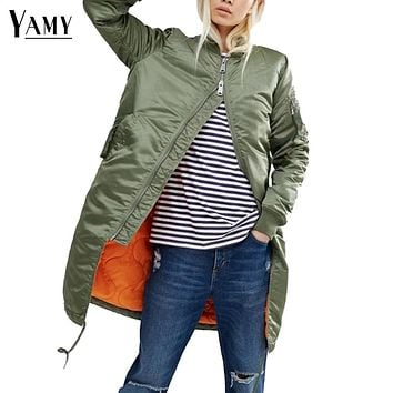 Winter long jackets and coats spring female coat casual  military olive green bomber jacket women basic jackets