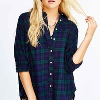 BDG Obie Flannel Button-Down Shirt- Dark Blue Multi