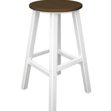 2 Bar Stools - Raw Sienna Seat And White Legs