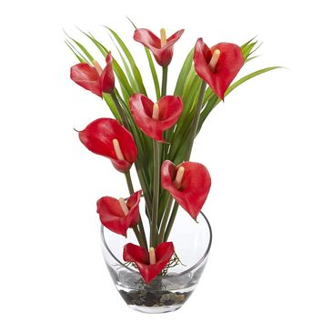 Silk Flowers -15.5 Inch Red Calla Lily And Grass In Vase Artificial Plant
