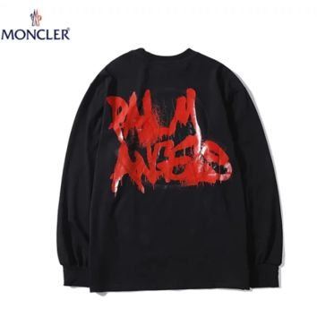 Moncler New fashion letter print couple long sleeve top sweater Black