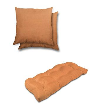 Stratford Home Indoor/ Outdoor Sunbrella Pillows and Bench Cushion Set (Tangerine)