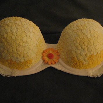 Paper Flowers Bra OOAK by NeonWonderland on Etsy