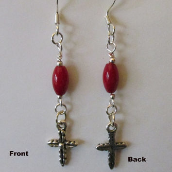Pierced Cross Earrings, Red Coral Beads, Antique Silver CrossBeads, Easter or Anytime Gift, Jesus Cross, Religious Cross Earrings, Delicate