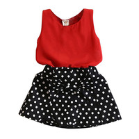 Casual Kids Baby Girls Clothes Set Sleeveless Chiffon TopsPolka Dot Skirts Cute Toddler Girl Clothes SM6