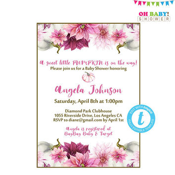 Pumpkin Baby Shower Invitations Girl, Invitation Template, Pumpkin Floral Baby Shower, Watercolor Pumpkin Baby Shower Invitation, Pink, PPMK