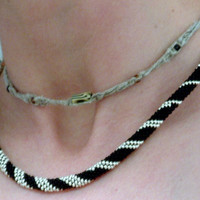 Bead Crochet Necklace Silver Spiral in Black Platinum Silver Artisan Heirloom Quality seed beaded rope