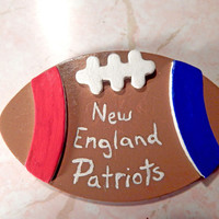 New England Patriots football refrigerator magnet handmade wooden Patriots football magnet Patriots fan gift nfl sports team kitchen magnet