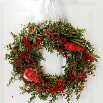 Red Bird Nest Wreath, Front Door Wreath, Spring Wreath, Summer Wreath, Bird Wreath, Red Wreath