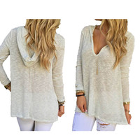 White Hooded V-Neck Long Sleeve Knitted Loose Top