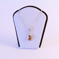 Abstract traditional Japan inspired washi necklace - with Topaz 18mm Swarovski crystal charm
