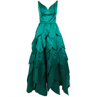 1950's Emerald Green Ball Gown with Petal Skirt