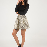 Shiny Antique Detailed Flared Skirt