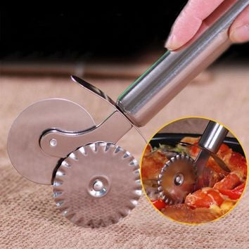 Kitchen Knife For Pizza Dough Pasta Pastry Stainless Steel Pizza Knife Double Wheels Hob Cutter