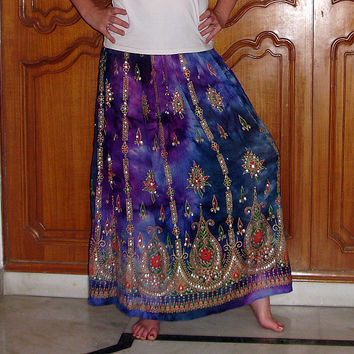 Gypsy Skirt: Tie Dye Skirt, Maxi Flowy Skirt, Long Bohemian Purple and Blue Indian Boho Skirt