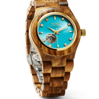 Cora Zebrawood & Turquoise - Ladies Wood Watch by JORD