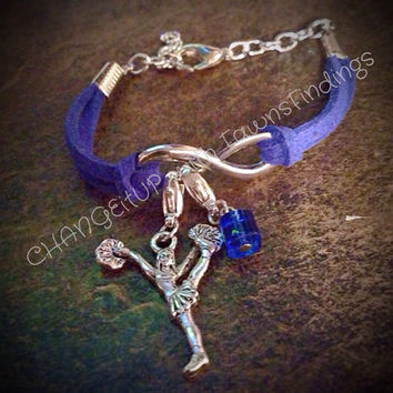 Suede Infinity Cheer Bracelet with Cheerleader Charm and Blue Cube Bead