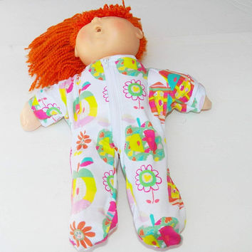 "Cabbage Patch Clothes, FITS 16"" KIDS girl dOLL, Pajamas Sleeper Pjs, ""Emma in Apples"""