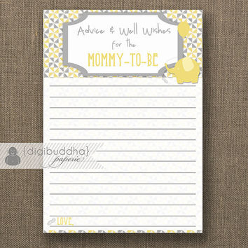 "Advice Card Mommy To Be INSTANT DOWNLOAD 3.5x5"" Yellow & Gray Gender Neutral Baby Shower Glam Advice Well Wishes Printable or Printed- Liam"