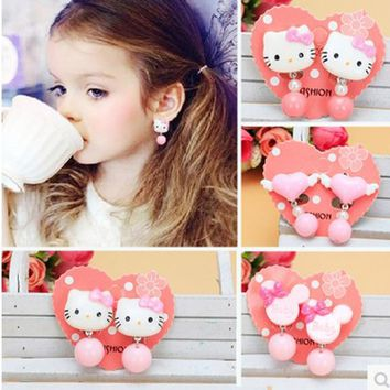 The Original Cartoon No Pain And Ears Pierced Ear Clip Princess Girl Earrings Lovely Korean Style Candy Bead Children Earrings