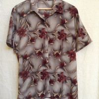 Grunge hawaiian tee button up tunic 90s goth steampunk festival burgundy/ grey / taupe ombre silky oversized slouchy tee