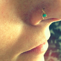 Gold nose ring with aqua bead (24 gauge)