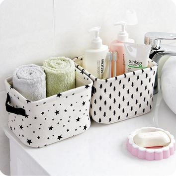 Small Cute White Dots Stars Cotton Linen Sundries Storage Basket Box with Handle, Toys Cosmetic Makeup Snacks Holder Organizer