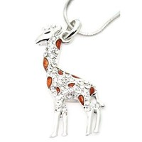 """DianaL Boutique Silver Tone Brown Enamel and Clear Rhinestone Giraffe Charm Pendant Necklace, 18"""""""