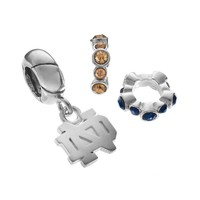 Dayna U Notre Dame Fighting Irish Crystal Sterling Silver Spacer Bead & Charm Set (Grey)