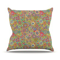 "Kess InHouse Julia Grifol ""My Butterflies and Flowers in Green"" Rainbow Floral Outdoor Throw Pillow, 26 by 26-Inch"