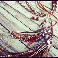 Marvelous braided leather and feathers headband belt or lariat by Bdii