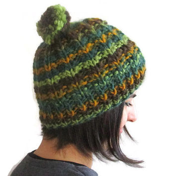 Pom Pom Beanie, Warm and Cozy Knit Hat, Winter Hat with Pompom in mustard,Womens green hat ,Teens knit beanie, Christmas gift,ready to ship