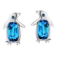 Neoglory Blue Crystal Made with Swarovski Elements Stud Earrings Penguin Birthstone Fashion Jewelry