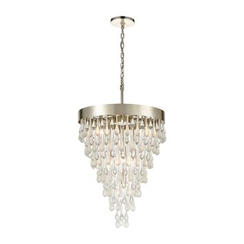 Morning Frost 7-Light Chandelier in Silver Leaf with Clear and Frosted Glass Drops