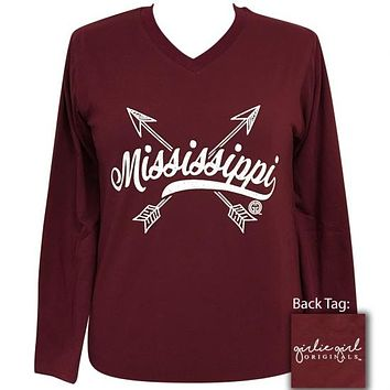 Girlie Girl Preppy Mississippi State Arrows V-Neck Long Sleeve T-Shirt