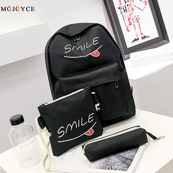 Summer Smile Women Canvas Set Backpack Printing Students Bookbag 3 Pcs School Bag Set For Youth Girls With Purse Bear Mochila