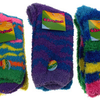 6 Pairs Fuzzy Crew Socks Krazisox Blue Green Yellow Cozy Women Size 4-10 Stripes