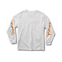 Low Life Longsleeve Tee in White/Orange