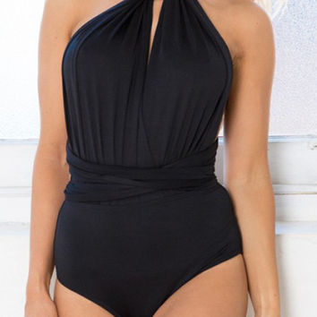 Black Halter Twist Bodysuit