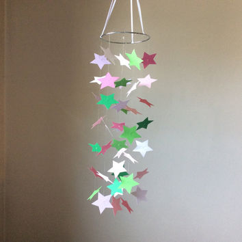 Star Multicolor paper mobile. Modern nursery Star mobile, Baby Nursery mobile, geometric crib mobile, nursery mobile, teen room, wedding