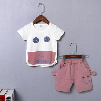 2-Piece Boys Cotton Daddy and Me Smiley Face Top and Short Set