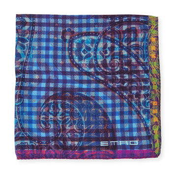 Silk Paisley Print Pocket Square, Pink/Blue, PINK/BLUE - Etro