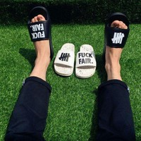 onetow One-nice? Undefeated Beach flip-flops - lovers' fashion slippers B-PSXY Black