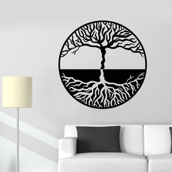 Vinyl Wall Decal Tree Of Life Yin Yang Symbol Gothick Style Stickers (2260ig)