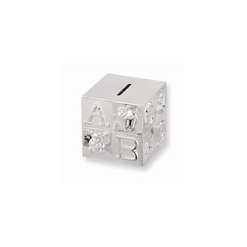 Silver-plated Baby Block Bank - Engravable Personalized Gift Item